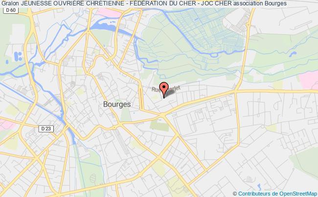 plan association Jeunesse Ouvriere Chretienne Et Jeunesse Ouvriere Chretienne Feminine - Federation Du Cher - 'joc - Jocf Du Cher' Bourges