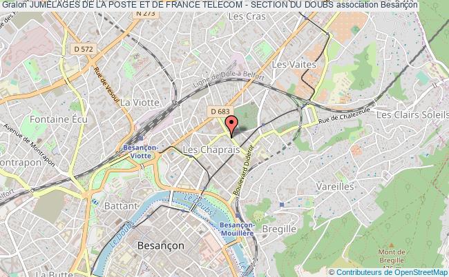 plan association Jumelages De La Poste Et De France Telecom - Section Du Doubs