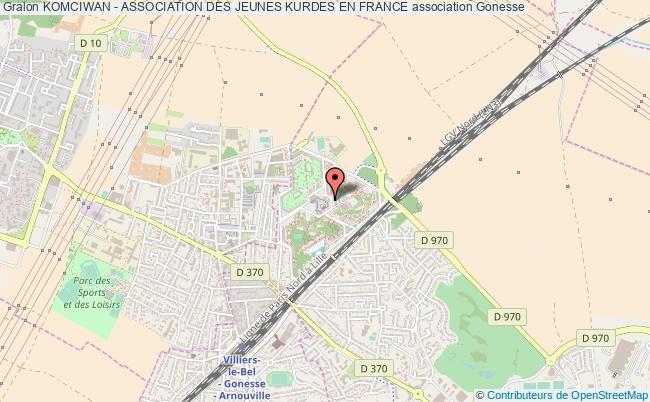 plan association Komciwan - Association Des Jeunes Kurdes En France Gonesse