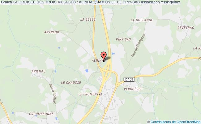 plan association La Croisee Des Trois Villages : Alinhac, Jamon Et Le Piny-bas Yssingeaux