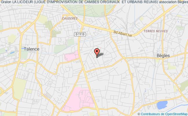 plan association La Licoeur (ligue D'improvisation De Cambes Originaux  Et Urbains Reunis) Bègles