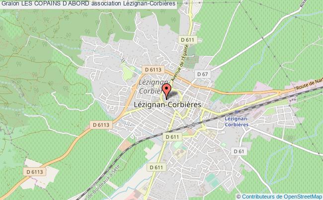 plan association Les Copains D Abord Lézignan-Corbières