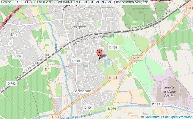 plan association Les Zeles Du Volant ( Badminton Club De Vergeze ) Vergèze