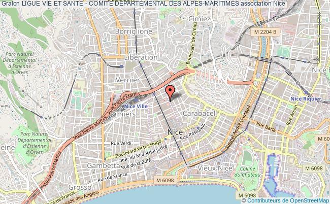 plan association Ligue Vie Et Sante - Comite Departemental Des Alpes-maritimes Nice