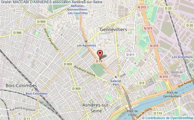 plan association Maccabi D'asnieres Asnières-sur-Seine