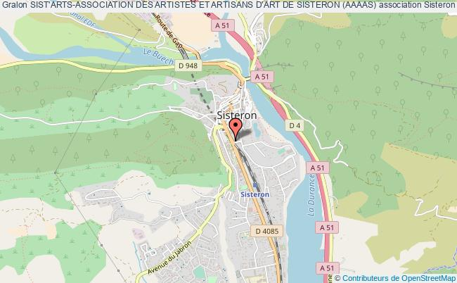 plan association Sist'arts-association Des Artistes Et Artisans D'art De Sisteron (aaaas)
