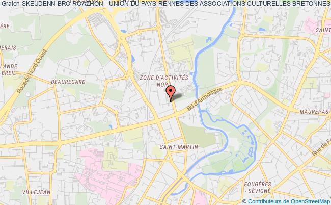 plan association Skeudenn Bro Roazhon - Union Du Pays Rennes Des Associations Culturelles Bretonnes - Upracb