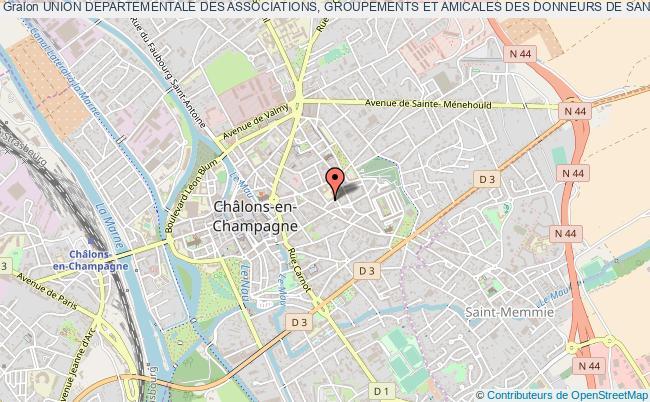 plan association Union Departementale Des Associations, Groupements Et Amicales Des Donneurs De Sang Benevoles De La Marne