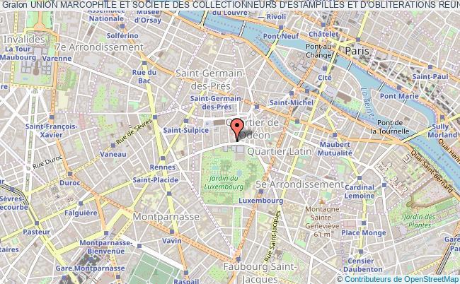plan association Union Marcophile Et Societe Des Collectionneurs D'estampilles Et D'obliterations Reunies Paris