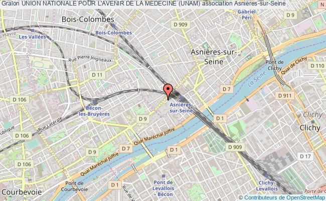 plan association Union Nationale Pour L'avenir De La Medecine (unam) Asnières-sur-Seine