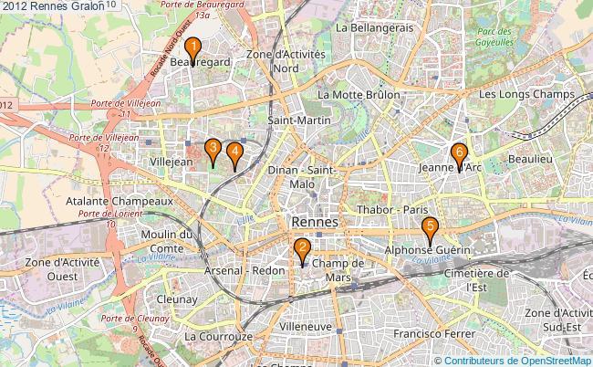 plan 2012 Rennes Associations 2012 Rennes : 6 associations
