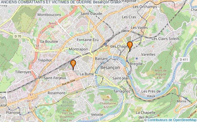 plan ANCIENS COMBATTANTS ET VICTIMES DE GUERRE Besançon Associations ANCIENS COMBATTANTS ET VICTIMES DE GUERRE Besançon : 2 associations