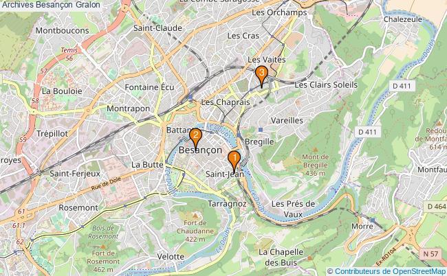 plan Archives Besançon Associations archives Besançon : 3 associations