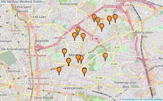 plan Arts Martiaux Montreuil Associations Arts Martiaux Montreuil : 18 associations