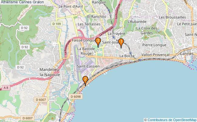 plan Athlétisme Cannes Associations Athlétisme Cannes : 3 associations