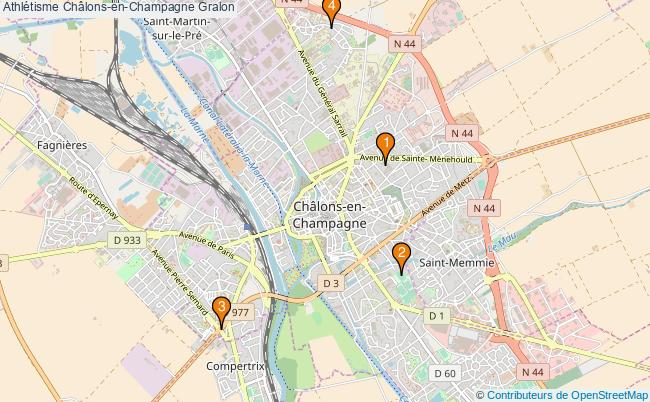 plan Athlétisme Châlons-en-Champagne Associations Athlétisme Châlons-en-Champagne : 4 associations