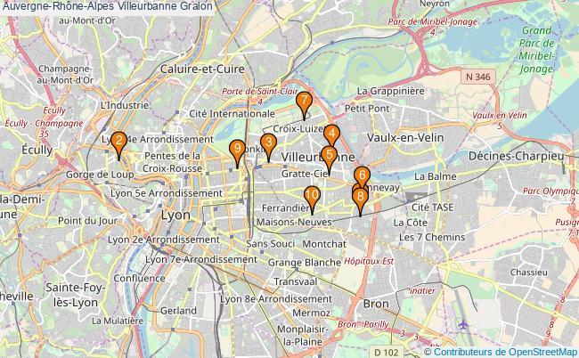 plan Auvergne-Rhône-Alpes Villeurbanne Associations Auvergne-Rhône-Alpes Villeurbanne : 12 associations
