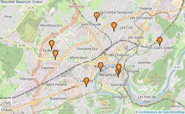 plan Bisontine Besançon Associations bisontine Besançon : 10 associations