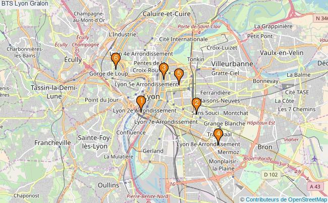 plan BTS Lyon Associations BTS Lyon : 6 associations