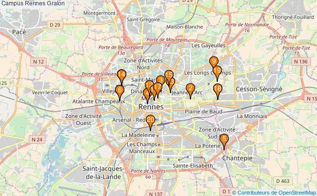 plan Campus Rennes Associations campus Rennes : 24 associations