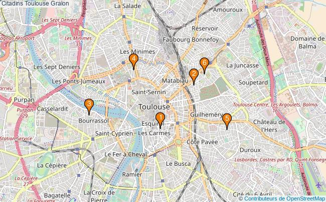 plan Citadins Toulouse Associations Citadins Toulouse : 6 associations