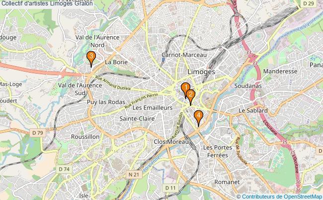 plan Collectif d'artistes Limoges Associations collectif d'artistes Limoges : 4 associations