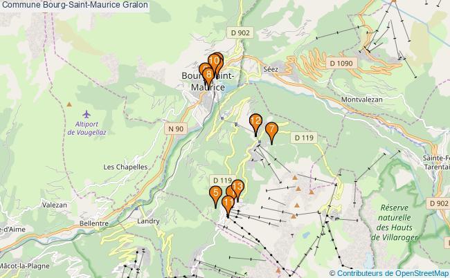 plan Commune Bourg-Saint-Maurice Associations commune Bourg-Saint-Maurice : 13 associations