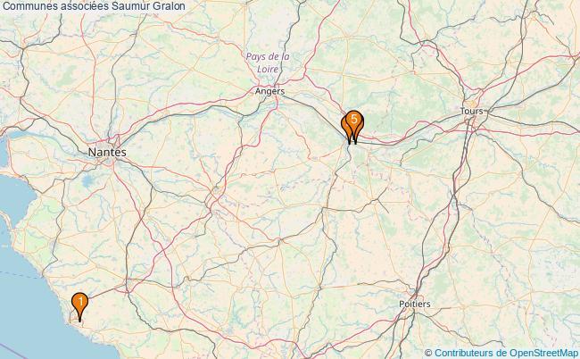 plan Communes associées Saumur Associations communes associées Saumur : 5 associations