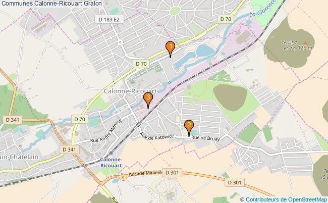 plan Communes Calonne-Ricouart Associations communes Calonne-Ricouart : 3 associations