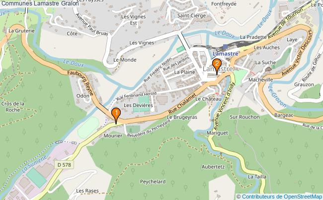 plan Communes Lamastre Associations communes Lamastre : 2 associations