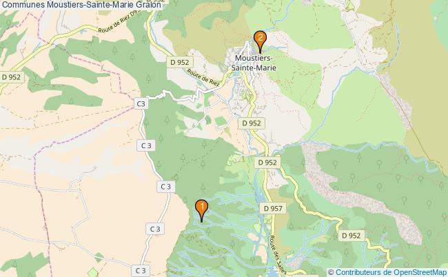 plan Communes Moustiers-Sainte-Marie Associations communes Moustiers-Sainte-Marie : 2 associations