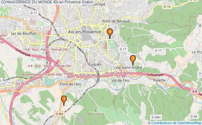 plan CONNAISSANCE DU MONDE Aix en Provence Associations CONNAISSANCE DU MONDE Aix en Provence : 4 associations