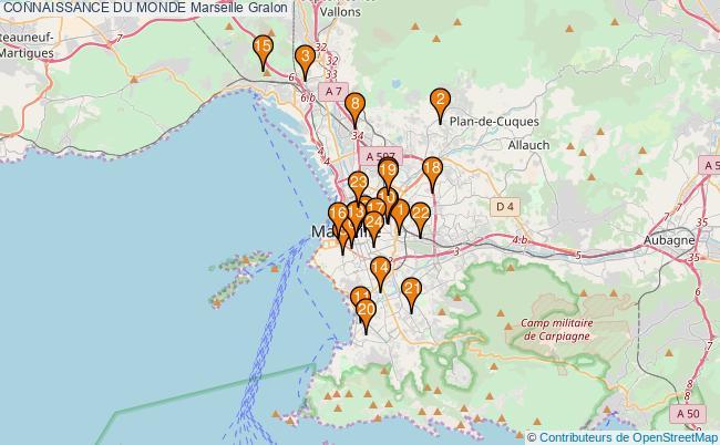 plan CONNAISSANCE DU MONDE Marseille Associations CONNAISSANCE DU MONDE Marseille : 24 associations