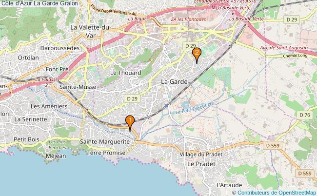 plan Côte d'Azur La Garde Associations Côte d'Azur La Garde : 2 associations