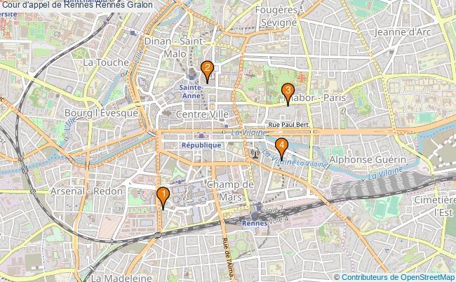 plan Cour d'appel de Rennes Rennes Associations Cour d'appel de Rennes Rennes : 4 associations