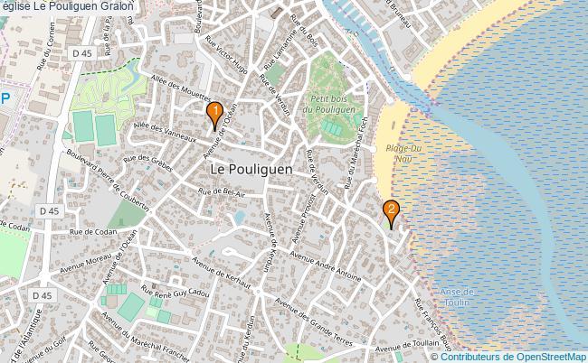 plan église Le Pouliguen Associations église Le Pouliguen : 2 associations