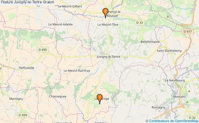 plan Filature Juvigny-le-Tertre Associations filature Juvigny-le-Tertre : 2 associations