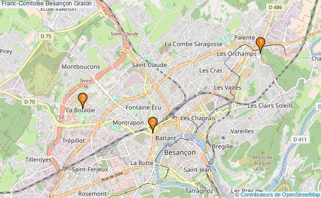 plan Franc-Comtoise Besançon Associations Franc-Comtoise Besançon : 3 associations