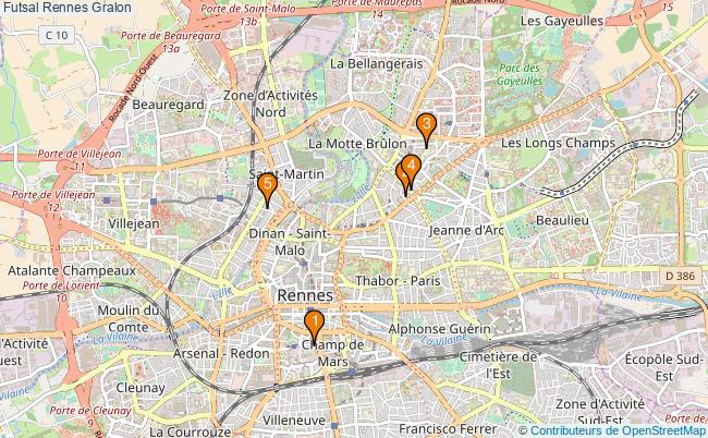 plan Futsal Rennes Associations futsal Rennes : 5 associations