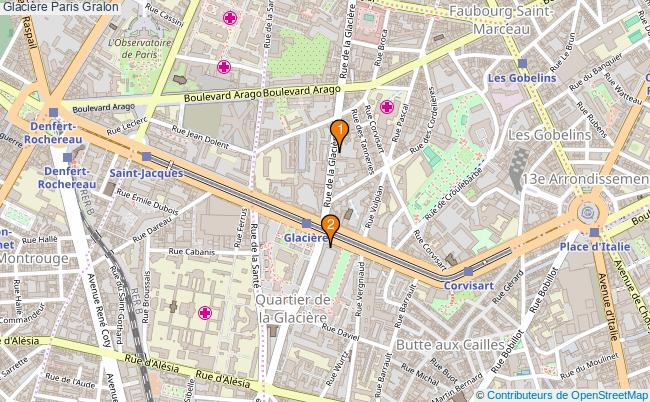 plan Glacière Paris Associations Glacière Paris : 2 associations