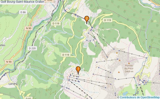 plan Golf Bourg-Saint-Maurice Associations Golf Bourg-Saint-Maurice : 2 associations
