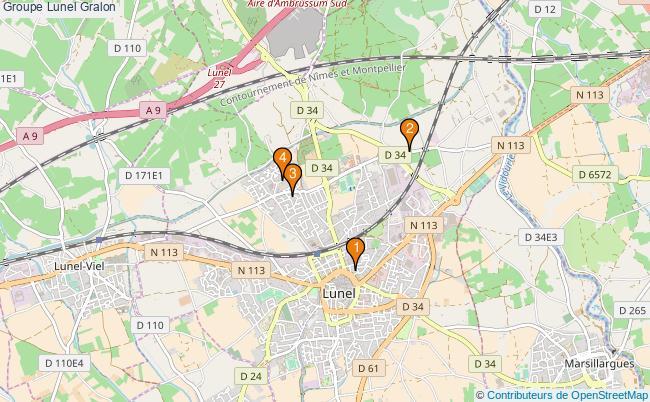 plan Groupe Lunel Associations groupe Lunel : 5 associations