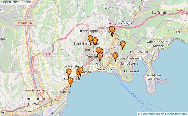plan Hôpital Nice Associations hôpital Nice : 14 associations