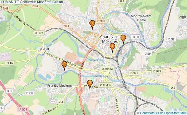plan HUMANITE Charleville-Mézières Associations HUMANITE Charleville-Mézières : 5 associations