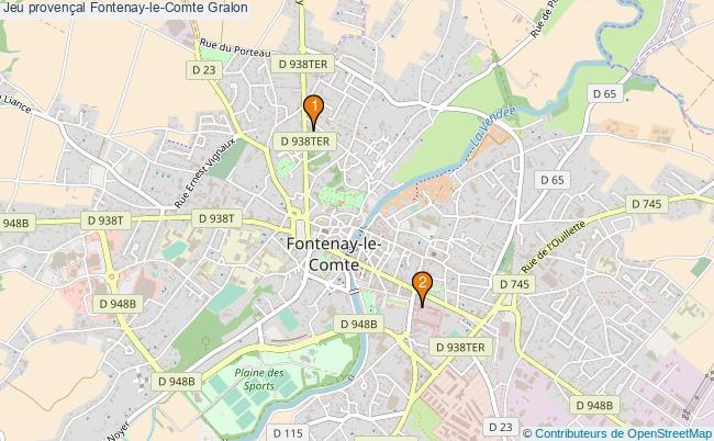 plan Jeu provençal Fontenay-le-Comte Associations jeu provençal Fontenay-le-Comte : 2 associations