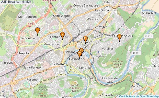 plan JUIN Besançon Associations JUIN Besançon : 22 associations