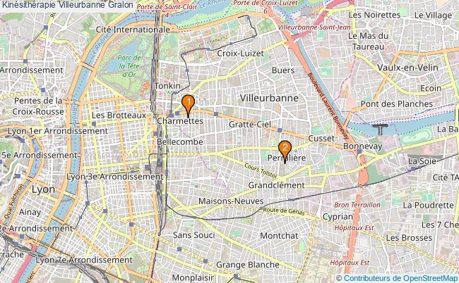 plan Kinésithérapie Villeurbanne Associations kinésithérapie Villeurbanne : 2 associations