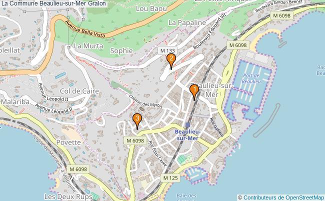 plan La Commune Beaulieu-sur-Mer Associations La Commune Beaulieu-sur-Mer : 3 associations