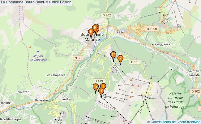 plan La Commune Bourg-Saint-Maurice Associations La Commune Bourg-Saint-Maurice : 11 associations