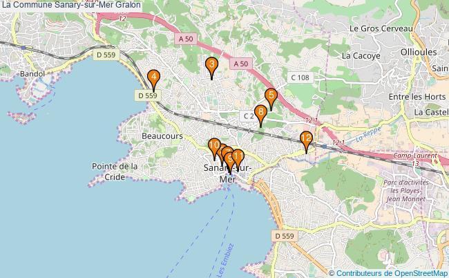plan La Commune Sanary-sur-Mer Associations La Commune Sanary-sur-Mer : 13 associations